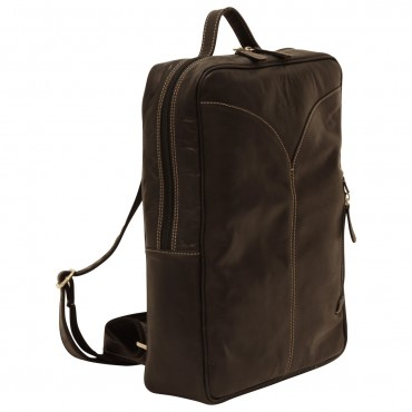 Leather laptop backpack...