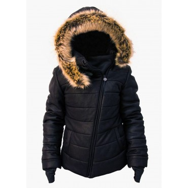 Leather woman padded jacket...