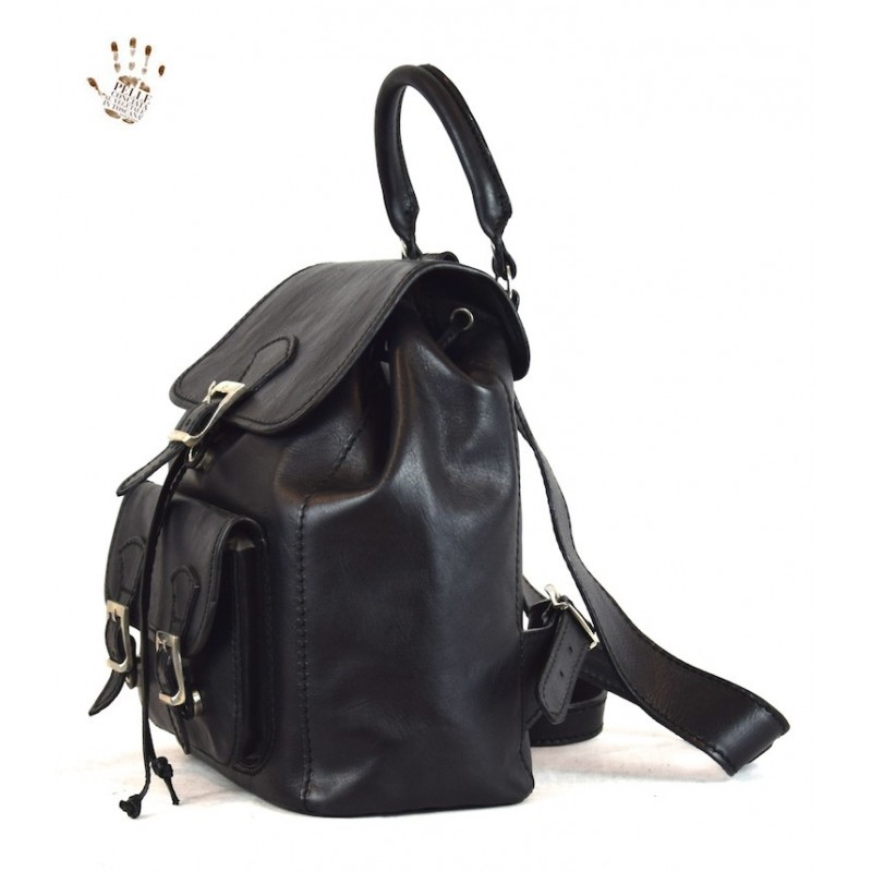 "Leather Woman Backpack ""Aurelia"" BL"