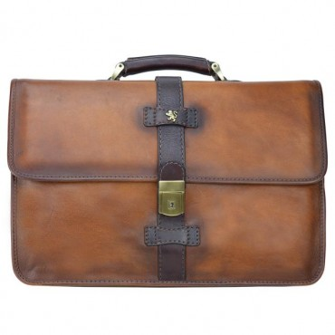 "Leather Briefcase ""Pratomagno"" B459"