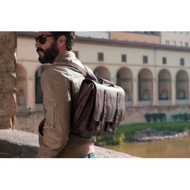 "Leather backpack briefcase ""Torre Alta"""
