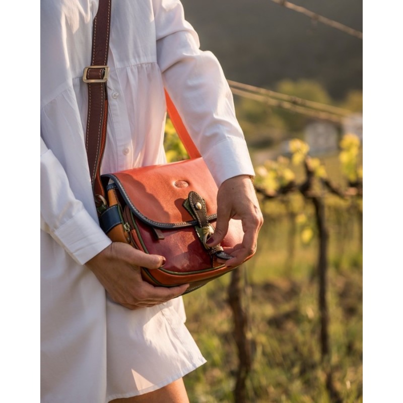 "Leather Lady bag ""Toscanella""  Multicolor"