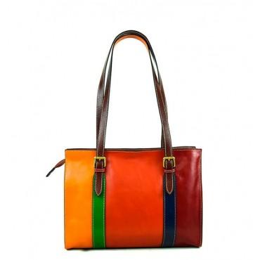 "Leather Lady bag ""Feniglia"" Multicolor"