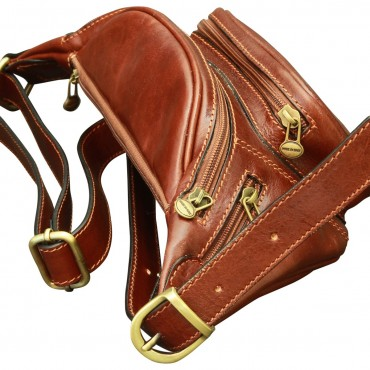 "Leather Fanny pack ""Gołuchów"""